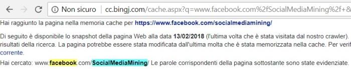 Risultato della ricerca di pagina Facebook in cache di Bing