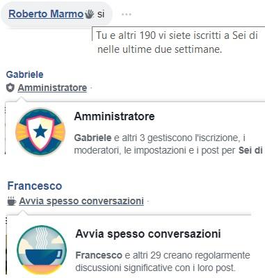 Le icone che rappresentano il coinvolgimento degli iscritti in un gruppo Facebook.
