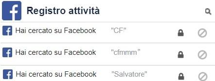 Registro Attività con parole chiave cercate nel motore di ricerca Facebook
