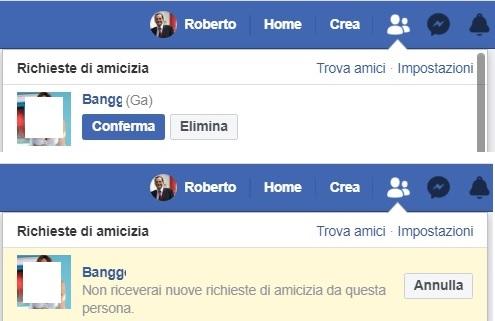 Elenco delle richieste di amicizia nel profilo personale mostrato su computer.