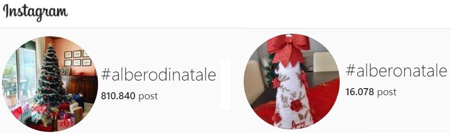 quantità di hashtag su albero di Natale in Instagram