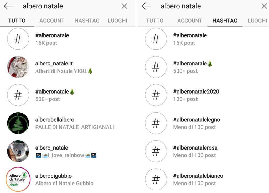 hashtag su albero di Natale in Instagram